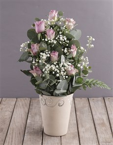 gifts: Lilac Roses in Ceramic Pottery!