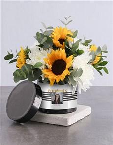 flowers: Personalised Congrats Sunflower Arrangement!