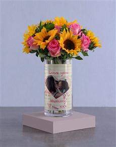 flowers: Personalised Love You Sunflowers Photo Vase!