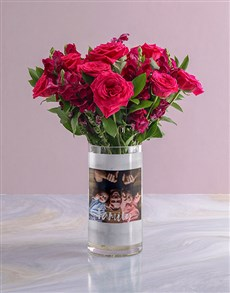flowers: Personalised Family Rose Bunch Photo Vase!
