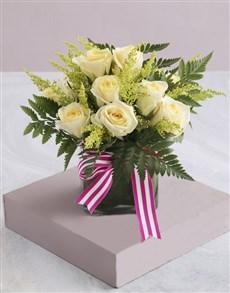 gifts: Cream Roses in Square Vase!