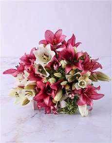 flowers: Pastel Pink and White Lily Bouquet!