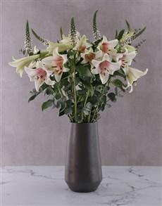 flowers: St Joseph Lilies in Black Vase!