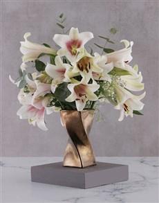 flowers: St Joseph Lilies in Twisty Bronze Vase!