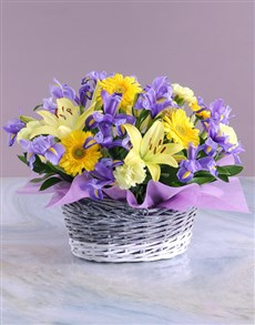 flowers: Basket of Blue and Yellow Blooms!