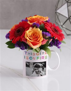 gifts: Personalised Girl on Fire Floral Mug!