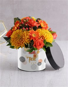 gifts: Hang in There Flower Arrangement in Hatbox!