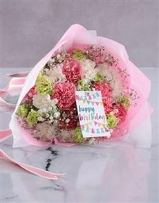 flowers: Pretty Pink Carnation Birthday Bouquet!