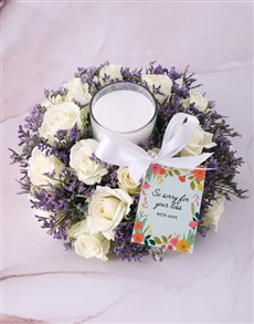 flowers: White Sympathy Roses With Glass Candle!
