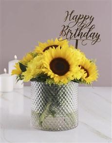 flowers: Sunflowers in Diamond Vase!