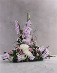 flowers: Purple Gladioli High Design Ikebana Arrangement!