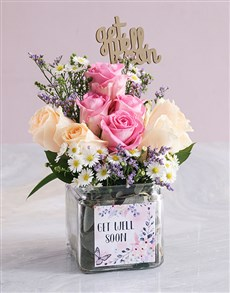 flowers: Get Well Mixed Roses in a Vase!