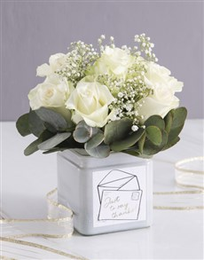 flowers: White Thank You Rose Blooms in a Vase!