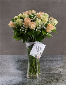 flowers: Mixed Sympathy Roses In Flair Vase!