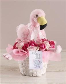 flowers: Baby Girl Flamingo Arrangement!