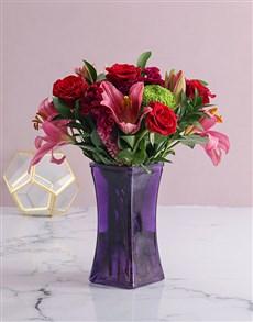 flowers: Mixed Flowers In Purple Vase!