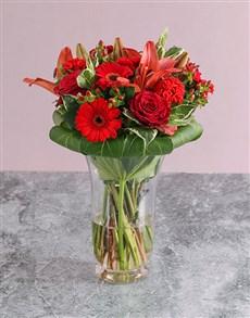 flowers: Mixed Flowes In Hurricane Vase!