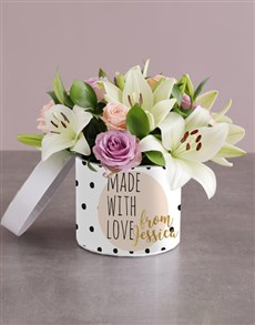 flowers: Personalised Mixed Flowers With Love Hat Box!