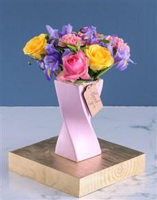 flowers: Pastel Blooms in Pink Twisty Vase!