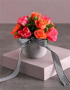 flowers: Cerise and Orange Rose Arrangement!