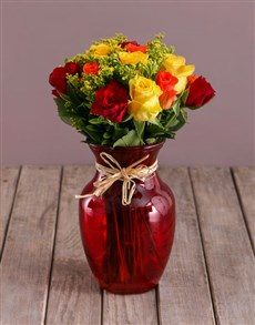 flowers: Mixed Roses in Red Vase!