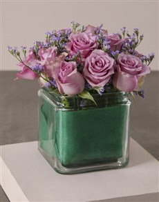 flowers: Lilac Roses In Petite Square Vase!