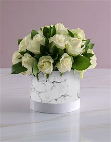 flowers: Snow White Roses In Hat Box Bunch!