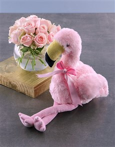 flowers: Pink Roses And Flamingo Teddy Gift!