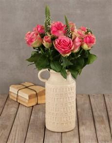 flowers: Classy Roses in Ceramic Vase!