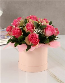 flowers: Classy Roses in Pink Hatbox!