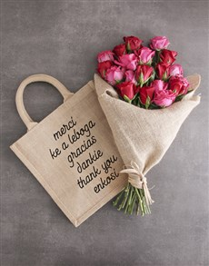 flowers: Thank You Hessian Tote With Roses!