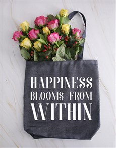 gifts: Roses In A Denim Happiness Tote!