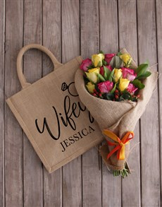 gifts: Personalised Wifey Roses In A Tote!