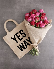 flowers: Yes Way Hessian Tote With Roses!