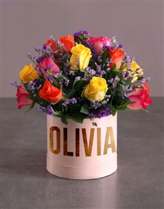 gifts: Personalised Mixed Flowers In Hat Box!