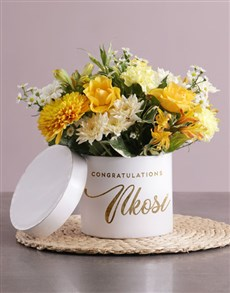 gifts: Personalised Congratulations Mixed Flowers Hat Box!
