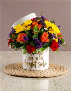 flowers: Bright Side Mixed Flowers Hat Box!