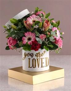flowers: You Are Loved Mixed Flowers Hat Box !