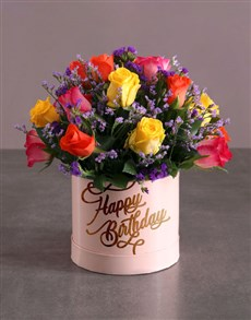 flowers: Birthday Mixed Flowers Hat Box!