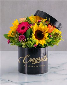 flowers: Congrats Mixed Flowers Hat Box!