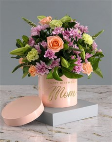 flowers: Birthday Mixed Flowers In Pink Hat Box!