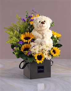 flowers: Sunflower And Teddy Occasions Box Gift!