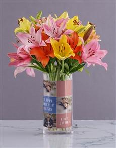 flowers: Mixed Lilies Birthday Photo Vase!