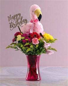 flowers: Happy Birthday Mixed Flowers In Pink Vase!