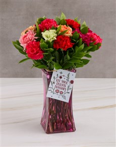 flowers: Blossoming Carnation Blooms In Vase Gift!