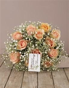 flowers: Peach Roses Sympathy Bouquet!