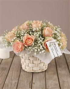 flowers: Peach Roses Sympathy Basket!