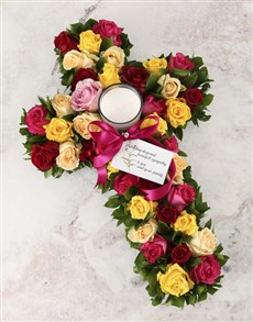 flowers: Mixed Roses Sympathy Cross!