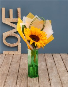 flowers: Sunflowers And Roses Vase Arrangement!