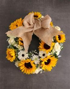 flowers: Sunny Day Sunflower Wreath Arrangement!